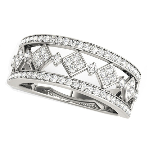 Diamond Studded Square Motif Ring in 14K White Gold (1/2 ct. tw.)
