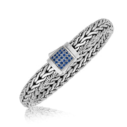 Sterling Silver Blue Sapphire Designed Braided Men's Bracelet