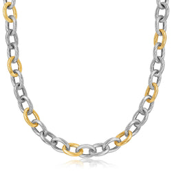 18K Yellow Gold and Sterling Silver Rhodium Plated Diamond Cut Chain Necklace