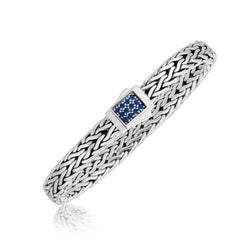 Sterling Silver Braided Men's Bracelet with a Blue Sapphire Designed Clasp