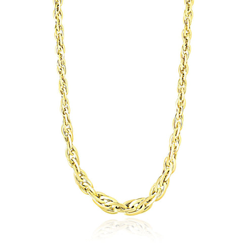 14K Yellow Gold Fancy Necklace with Singapore Chain