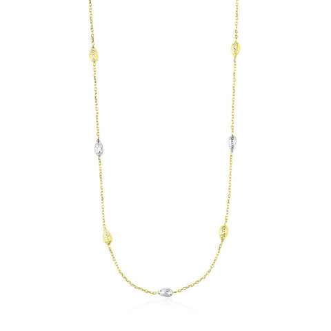 14K Two-Tone Gold Puffed Diamond Cut Teardrop Station Chain Necklace