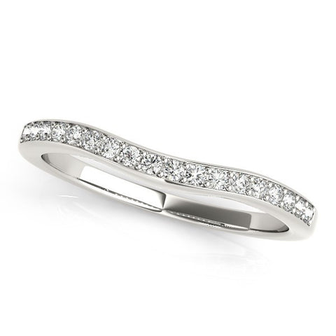 14K White Gold Channel Curved Diamond Wedding Band (1/4 ct. tw.)