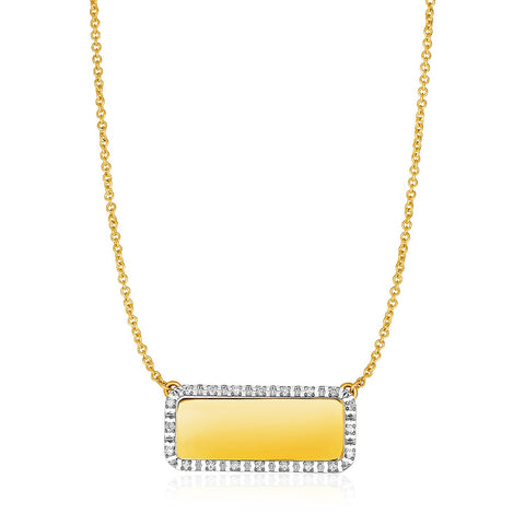 14K Yellow Gold Necklace with Rectangular Engraveable Diamond Pendant