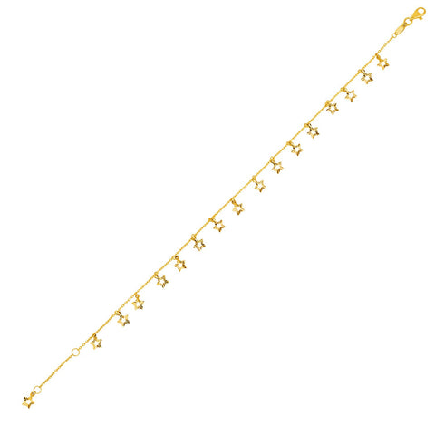 14K Yellow Gold Anklet with Star Charms