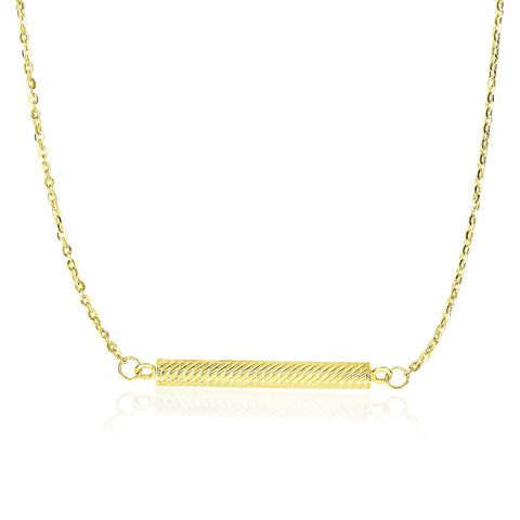 14K Yellow Gold Textured Bar Style Chain Necklace
