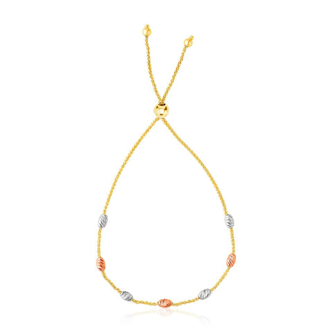 14K Tri-Color Gold Textured Oval Station Lariat Style Bracelet