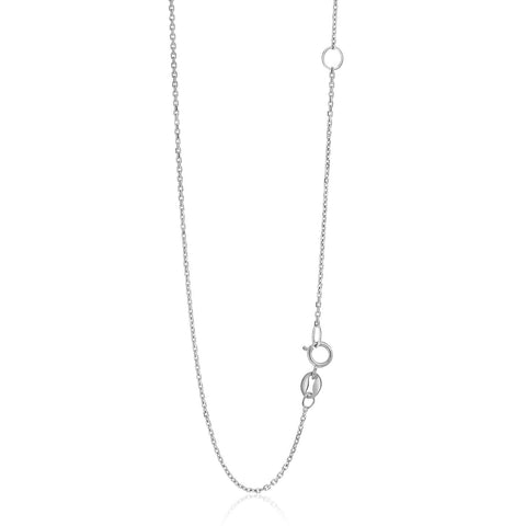 1.1mm 14K White Gold Adjustable Cable Chain