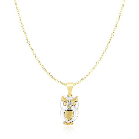 14K Two-Tone Gold Owl Motif Shiny Pendant
