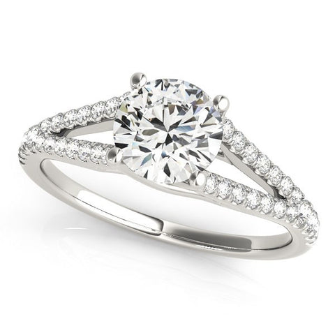 14K White Gold Split Shank Round Pronged Diamond Engagement Ring (1 1/8 ct. tw.)