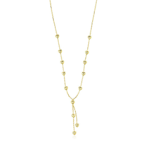 14K Yellow Gold Puffed Heart Station Diamond Cut Lariat Style Necklace