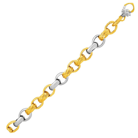 14K Two-Tone Yellow and White Gold Textured Rounded Link Bracelet