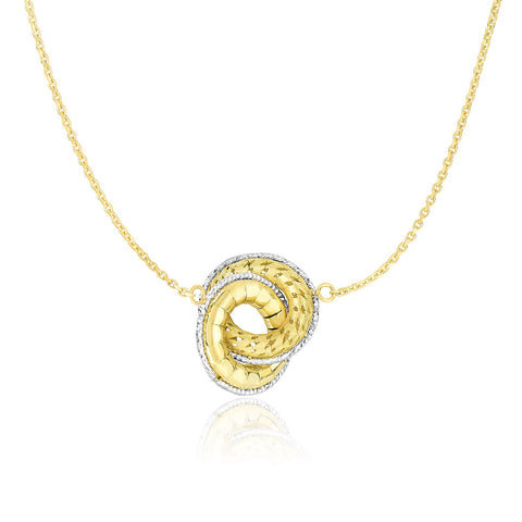 14K Two-Tone Gold Necklace with Entwined Textured Donut Sections