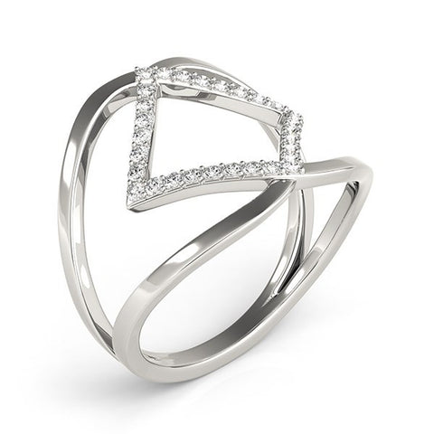 14K White Gold Interlaced Design Diamond Ring (1/5 ct. tw.)