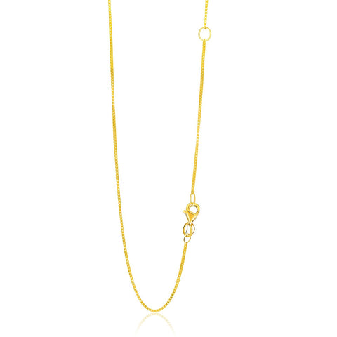 0.8mm 14K Yellow Gold Adjustable Box Chain