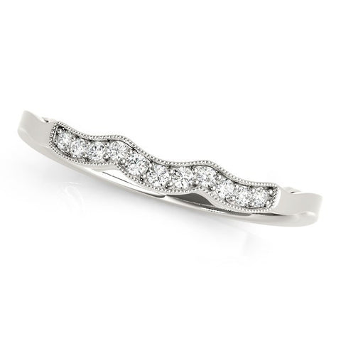 14K White Gold Wave Style Milgrained Diamond Wedding Ring (1/20 ct. tw.)