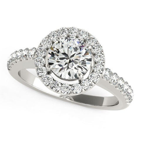 14K White Gold Classic Round Cut with Pave Halo Diamond Engagement Ring (1 1/2 ct. tw.)