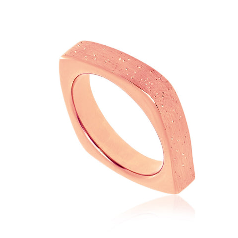 Sterling Silver Rose Tone Stardust Square Form Ring
