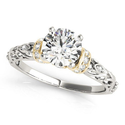 14K White And Yellow Gold Antique Style Round Diamond Engagement Ring (1 1/8 ct. tw.)