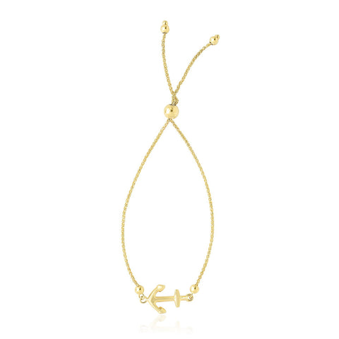 14K Yellow Gold Anchor Design Adjustable Lariat Bracelet
