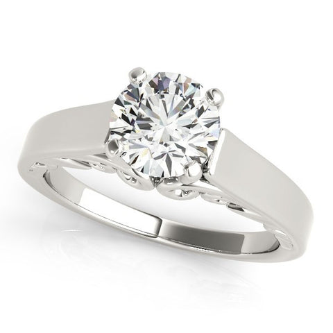 14K White Gold Antique Style Solitaire Round Diamond Engagement Ring (1 ct. tw.)