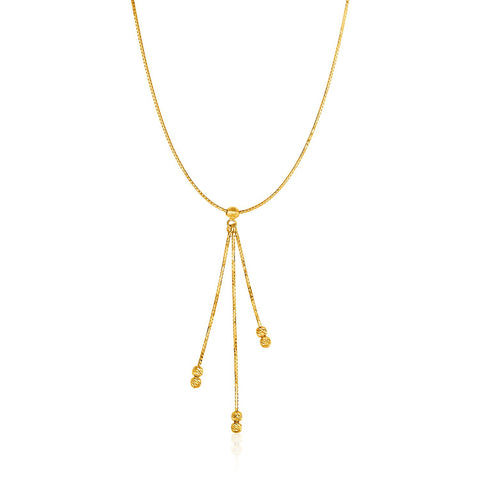 14K Yellow Gold Necklace with Chain and Textured Ball Dangle