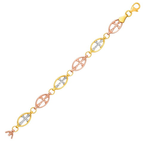 14K Three-Toned Yellow, White, and Rose Gold Cross Link Bracelet