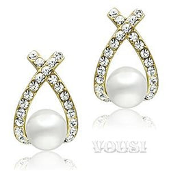 Womens IP Gold White Synthetic Pearl Earrings EA0G-06529