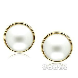 Womens IP Gold White Synthetic Pearl Earrings EA0G-06532