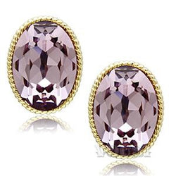 Womens IP Gold Light Amethyst Crystal Earrings EA0G-06536