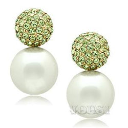Womens IP Gold White Synthetic Pearl Earrings EA0G-06542