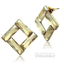 Womens IP Gold Topaz Crystal Earrings EA0G-06622