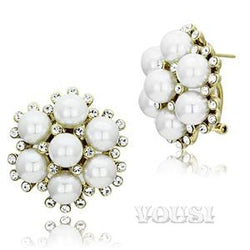 Womens IP Gold White Synthetic Pearl Earrings EA0G-06801