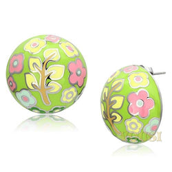 Womens High Polish Multi Color Epoxy Earrings EA0T-06815