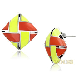 Womens High Polish Multi Color Epoxy Earrings EA0T-06817