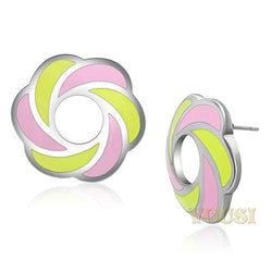 Womens High Polish Multi Color Epoxy Earrings EA0T-06824