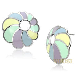 Womens High Polish Multi Color Epoxy Earrings EA0T-06825