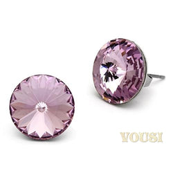 Womens High Polish Light Amethyst Crystal Earrings EA0T-06932