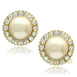 Womens IP Gold Citrine Yellow Synthetic Pearl Earrings EA0T-07328