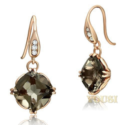 Womens IP Rose Gold Light Smoked Synthetic Smoky Quartz Earrings EA0T-07536