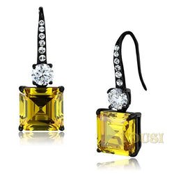 Womens IP Black Topaz Cubic Zirconia Earrings EA0T-08391