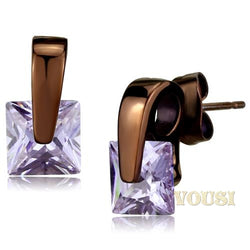 Womens IP Dark Brown Light Amethyst Cubic Zirconia Earrings EA0T-08393