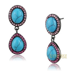 Womens IP Light Black Aquamarine Synthetic Turquoise Earrings EA0T-08636
