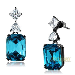 Womens IP Light Black Blue Zircon Crystal Earrings EA0T-08637