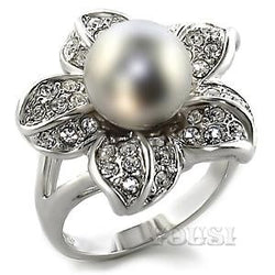 Womens Rhodium Plating Gray Synthetic Pearl Ring RI00-01053