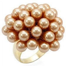 Womens Gold Plating Champagne Synthetic Pearl Ring RI01-05612