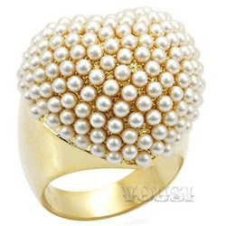 Womens Gold Plating Citrine Yellow Synthetic Pearl Ring RI01-05620