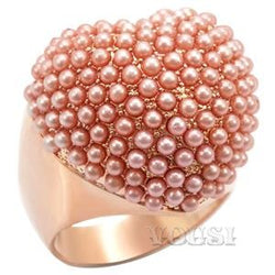 Womens Rose Gold Plating Rose Synthetic Pearl Ring RI01-05621