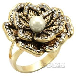 Womens Gold Plating Citrine Yellow Synthetic Pearl Ring RI01-05625