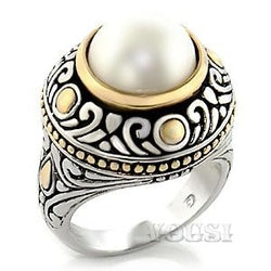 Womens Two Tone White Synthetic Pearl Ring RI07-04055